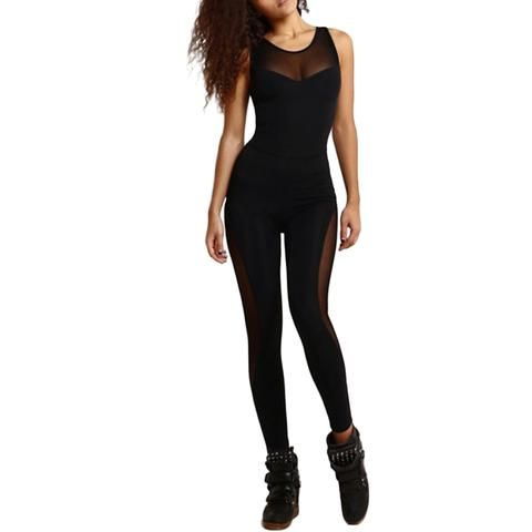 b598a658e9 2018 Sexy Womens Summer Jumpsuit Female Sleeveless Mesh Overalls Fitness  Leotard Rompers Workout O Neck Playsuit Black Catsuit