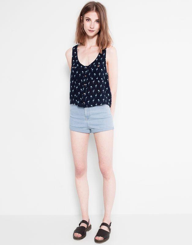 pull bear flamingo crop top clothes pinterest. Black Bedroom Furniture Sets. Home Design Ideas