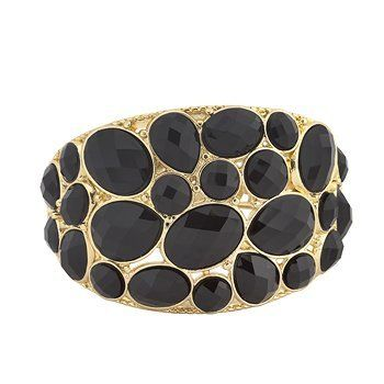 14k Yellow Gold Plated Hinged Bangle Bracelet with Simulated Onyx Stones- 7.5 IN Element Jewelry. $49.00. 14k Gold Look Without the High Price Tag. Matching Pieces Also Available. Satisfaction Guaranteed. Original Design. High-Fashion Piece