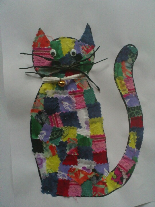 Lapjeskat, knutsel gemaakt voor dierendag met gr. 4  jaarmarkt idee
