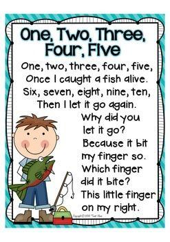 NURSERY RHYME MATH FREEBIE! {1, 2, 3, 4, 5, ONCE I CAUGHT A FISH ALIVE} - TeachersPayTeachers.com