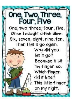 NURSERY RHYME MATH FREEBIE! {1, 2, 3, 4, 5, ONCE I CAUGHT A FISH ALIVE} - TeachersPayTeachers.com