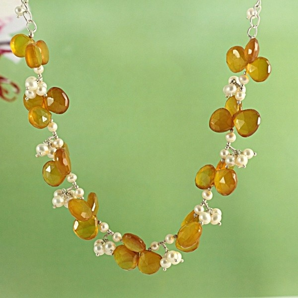 Citrine 'Honey Dew' Freshwater Pearls Clusters Necklace