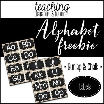 Alphabet letters freebie!Simply print onto card stock, laminate, cut, and post on your bulletin boards!Other products in this set:Schedule Cards {Burlap & Chalk Background}Classroom Jobs {Burlap & Chalk Background}Math Bin Labels {Burlap & Chalk Background}Days and Months of the Year {Burlap & Chalk Background}                  You might be interested in some of my other products.