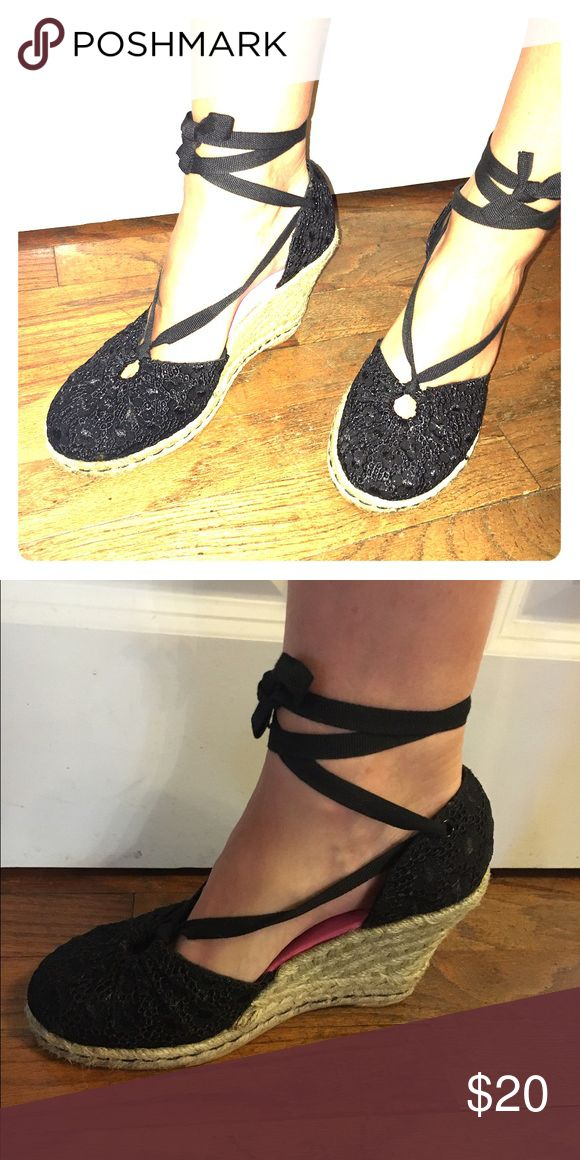 Espadrilles Woven wedge with black lace-up ties! Perfect heel height and look for midi dresses! Tommy Hilfiger Shoes Espadrilles