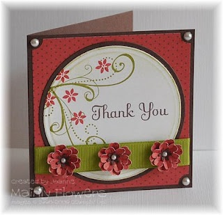 Ruby and Chocolate Thank You Card—Woodware Multi Christmas Flower punch