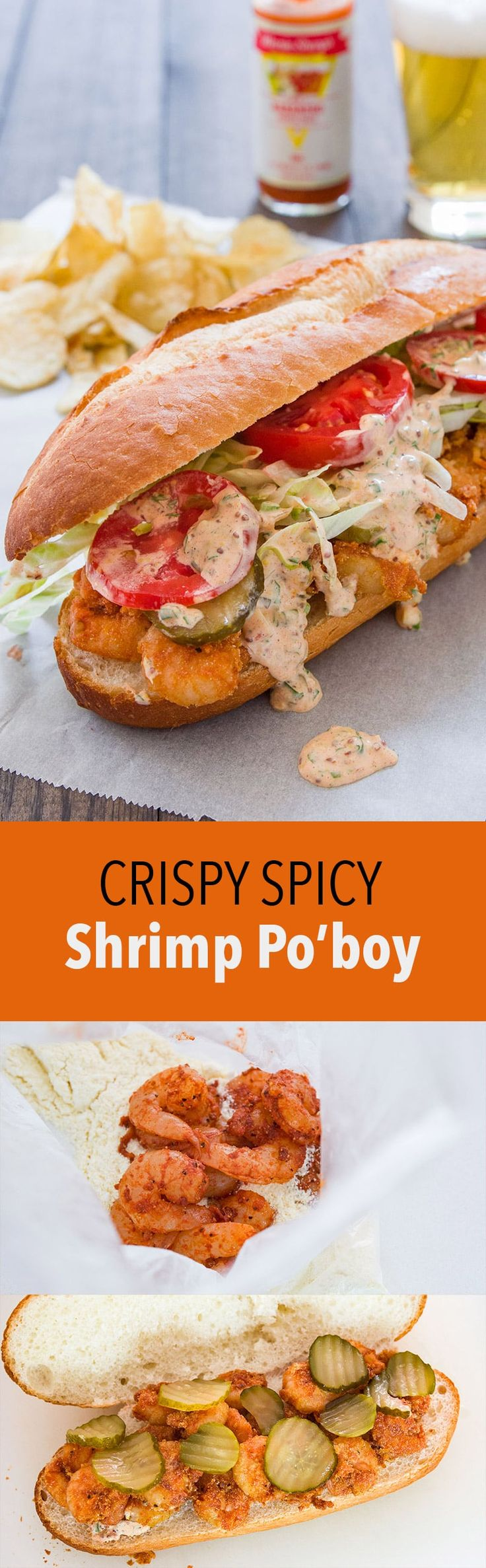 The best Po'boy sandwich with crispy spicy shrimp and a creamy tangy remoulade.