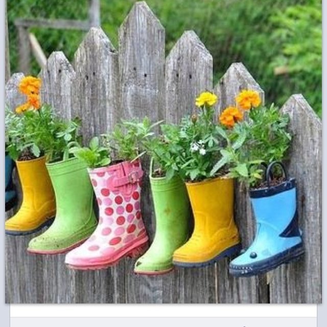 What a cool idea to use the kids gumboots they outgrow!