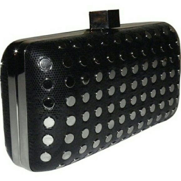 SALEHost Pick Milly Studded evening clutch Black snake stamped leather styled with a tuck away chain strap and silvertone flat studs. Milly Bags