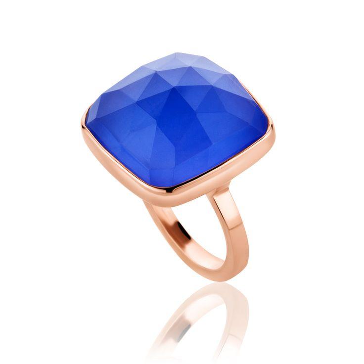 Δαχτυλίδι City Collection από ροζ επιχρυσωμένο ασήμι 925º με μπλε αχάτη και χαλαζία