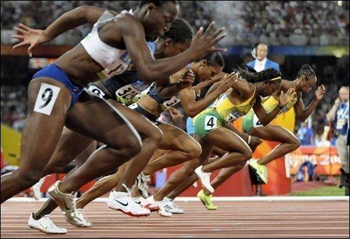 Départ de la finale du 100m femme au JO de Pekin - Michael Kappeler AFP/Archives
