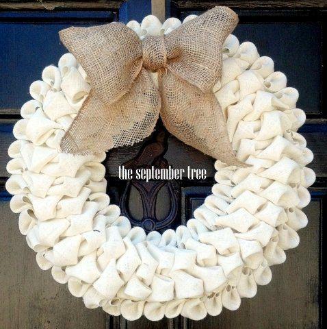 """Bubble burlap wreath ivory with burlap bow 19"""" on Etsy, $50.00"""