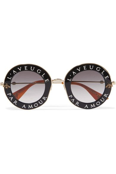 Gucci - Round-frame Acetate And Gold-tone Sunglasses - Black - one size
