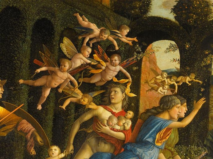 Detail from Minerva chasing The Vices from the Gardens of Virtue/Minerve chassant les Vices du Jardin de la Vertu. Painting by Andrea Mantegna.
