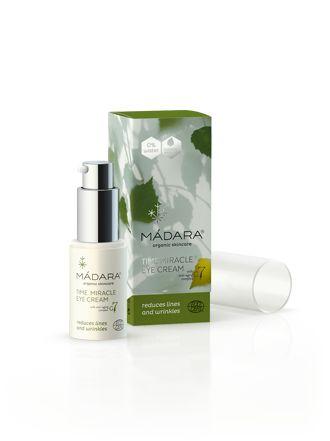 Madara - Eye Cream Anti Aging Cremen indholder ikke vand men birkesaft samt økologisk cellulære Galium7 med (gul snerre) ekstrakt. Samt ekstrater fra blandet andet Humle, Dame snerre, Hav torn og padderokke. Cremen virker opstrammende og regererende på den fine hud omkring øjnene. Den reducerere fine linjer og virker udglattende.