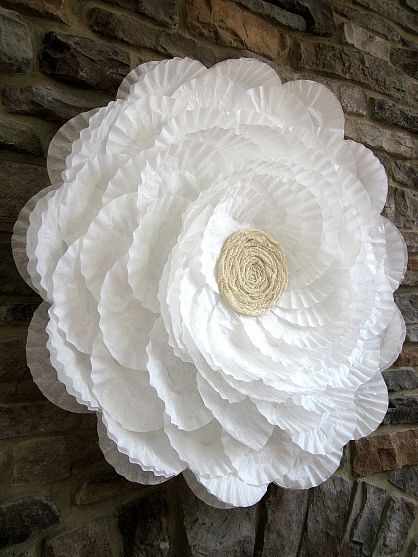DIY:: Coffee Filter Flower Wreath - (great decoration for home or party)