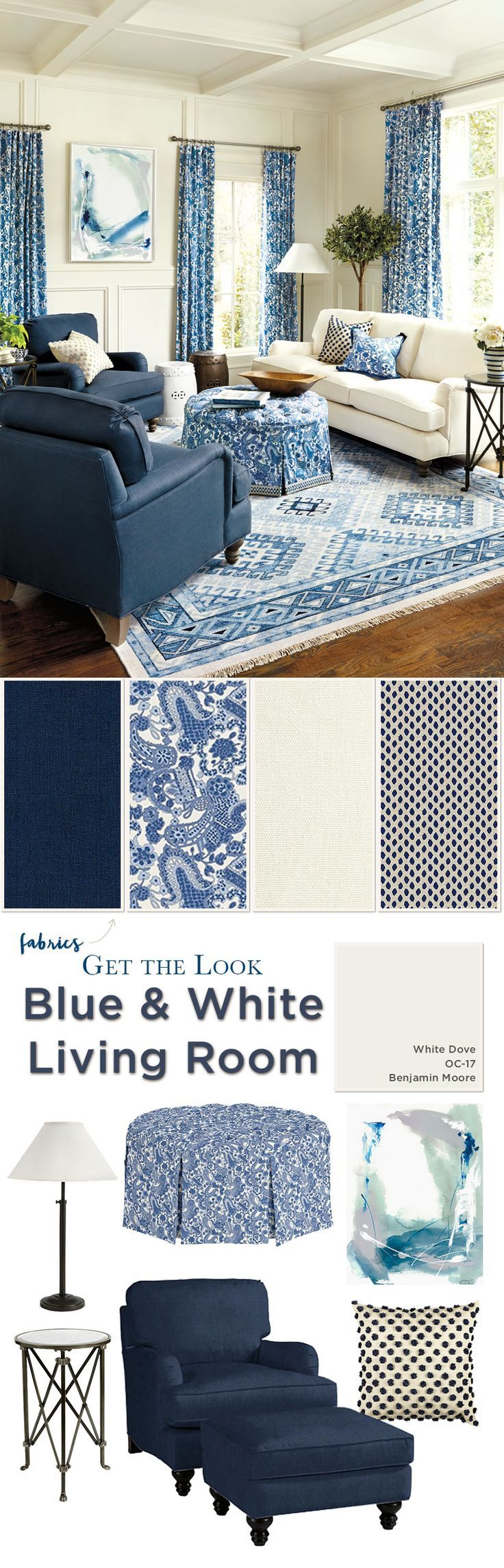 Get the look of this blue and white living room from Ballard Designs