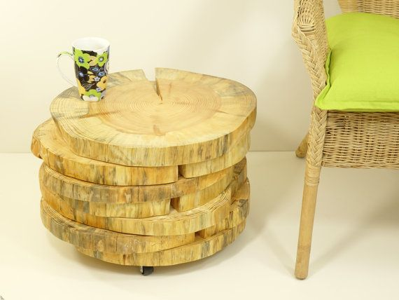 wooden slices table on rolling casters tree slabs coffee table natural colour baumstamm tisch. Black Bedroom Furniture Sets. Home Design Ideas