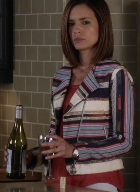 Melissa Hastings and Eleven Paris Aztec Stripe Biker Jacket Photograph
