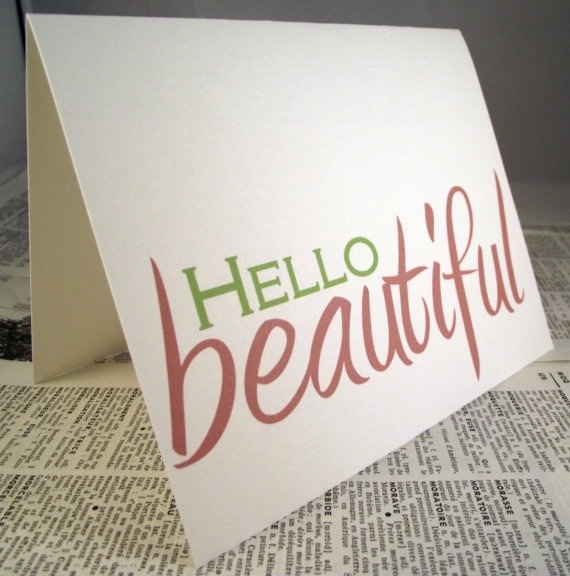 Hello Beautiful note card by PaperCityCards on Etsy,
