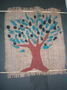 Olive tree craft! Κ Κατασκευή ελαιόδεντρου με λινάτσα!