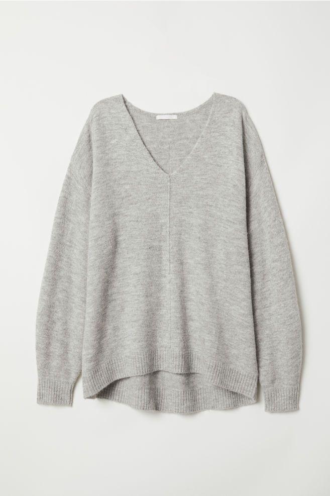 355c76e353c Fine-knit Sweater - Light gray melange - Ladies