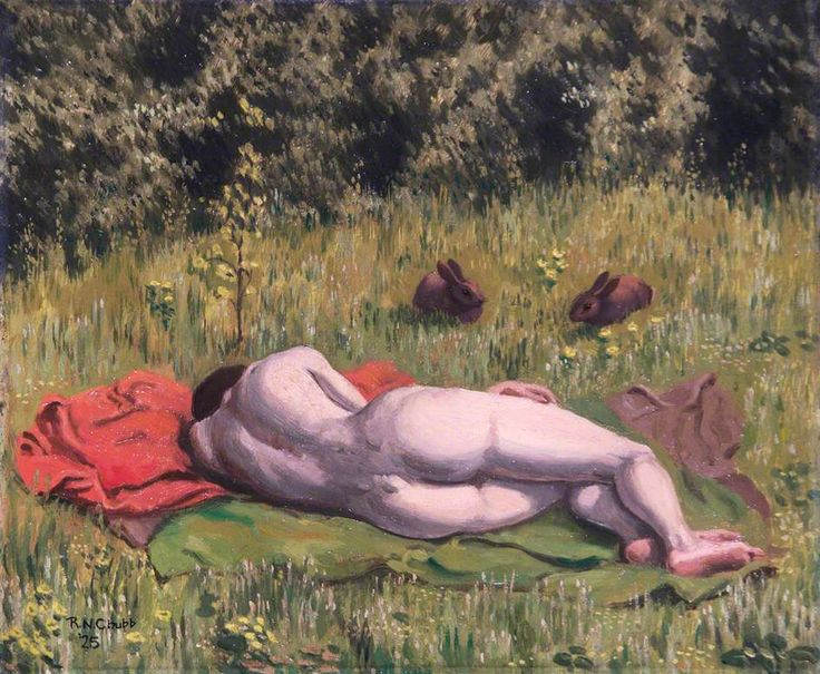 Ralph CHUBB. Reclining nude in a field [oil on canvas], 1925.