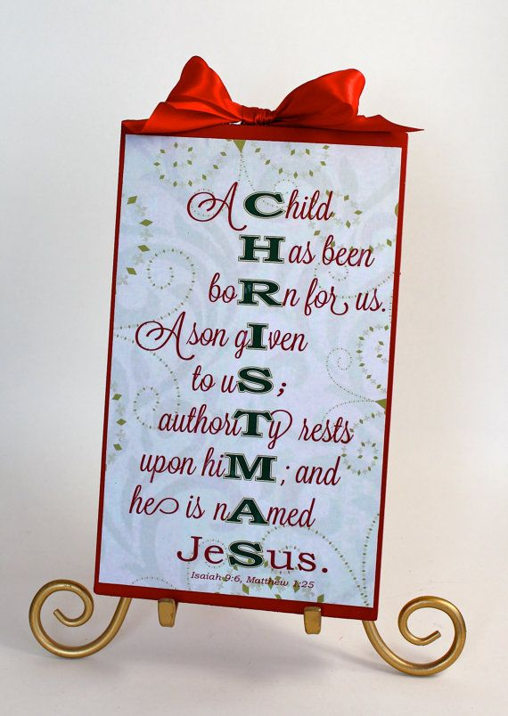 Christmas Sign Decoration Bible Verse Meaning by SignsoftheSeason, $16.50