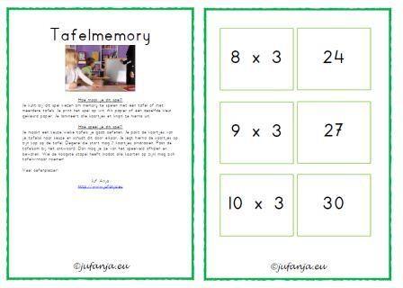 Overzichtspagina met verwijzingen naar materialen voor: tafels oefenen en automatiseren: tafelmemory, tafelbingo, tafeldiploma's, zelfstandige tafelkaarten