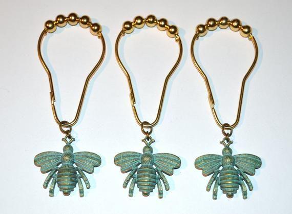 Bee Shower Curtain Hooks Set Of 12 Bronze With Verdigris Patina
