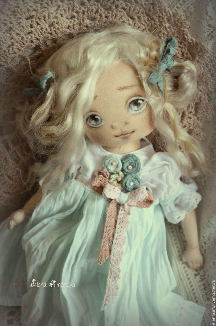 Купить Лаура - голубой, текстильная кукла, интерьерная кукла, авторская кукла, ручная работа