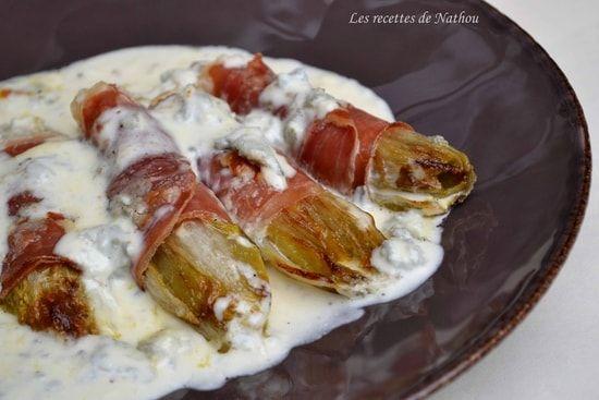 Recette de Chicons braisés au jambon cru et au gorgonzola : la recette facile