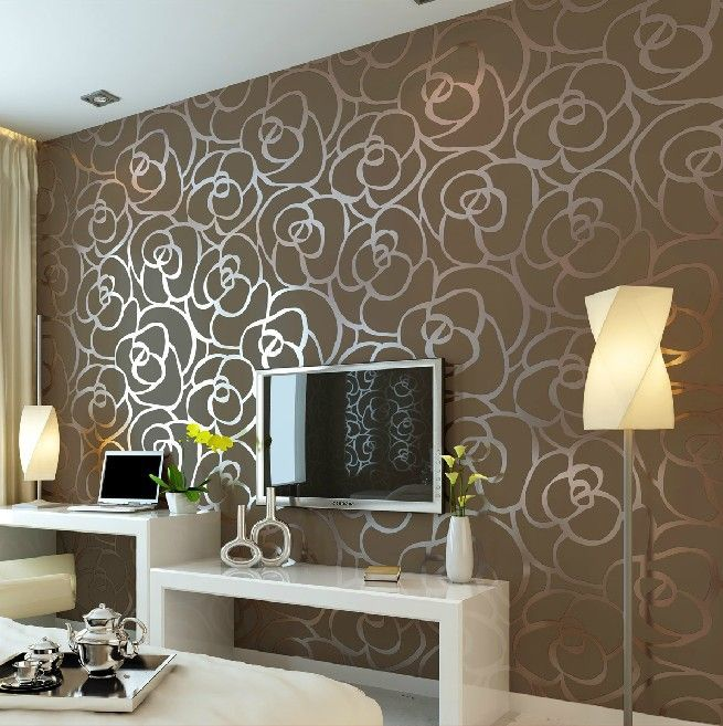 Luxury flocking textured wallpaper modern wall paper roll for Home wallpaper designs for living room