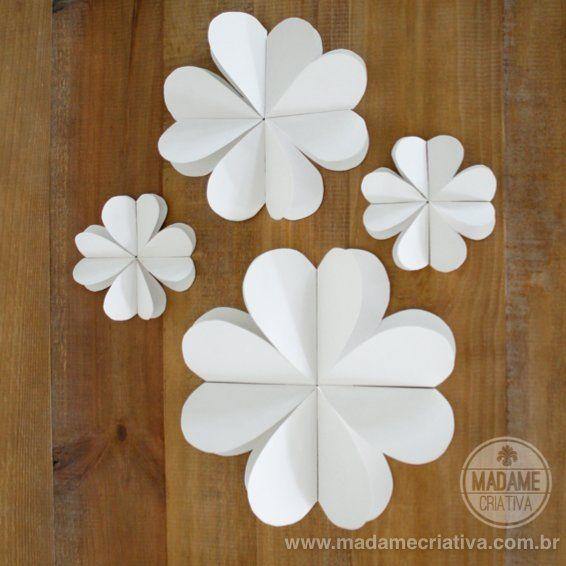 How to make 8 hearts paper flowers - DIY tutorial - Como fazer flores de Papel com 8 corações - Passo a Passo - #diy #paperflower #tutorial #hearts #papercrafts #wedding #diywedding #weddingdecor - Madame Criativa