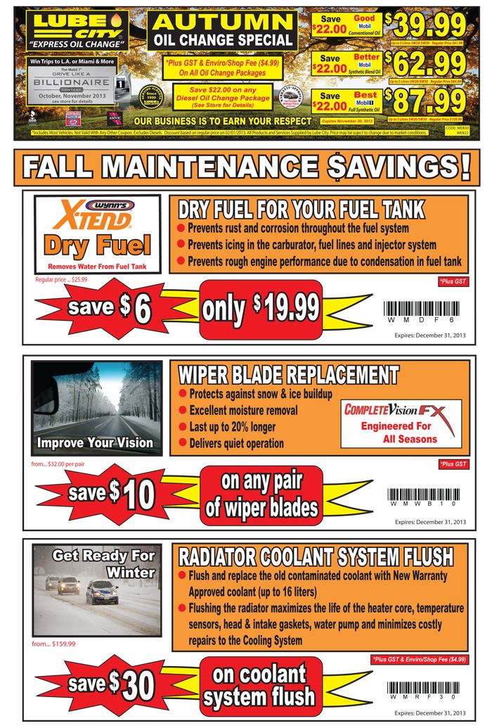 Autumn Oil Change Specials Save Up To 30 Valid Until Dec 31 2013 Oil Change Lube Oils