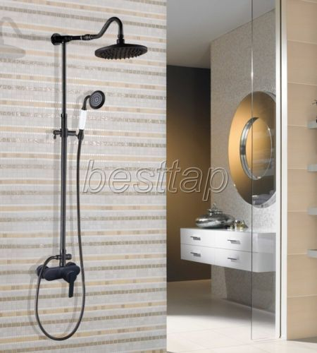 Oil Rubbed Bronze Wall Mounted Bathroom Rain Shower Faucet Set Mixer Tap shg658