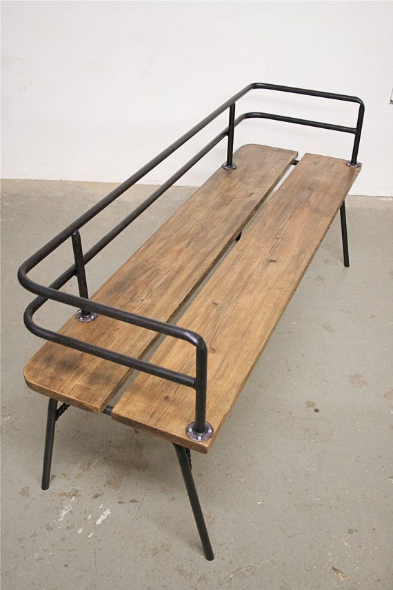 Panka - Indoor/ outdoor bench  Panka is a handmade, made to order bench , built with reclaimed wood and recycled steel pipes, hand bent with oxygen/acetylene torches.