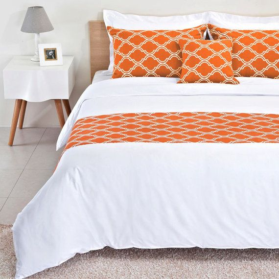 Burnt Orange Bed Runner Reversible by BHDecor on Etsy, $69.95