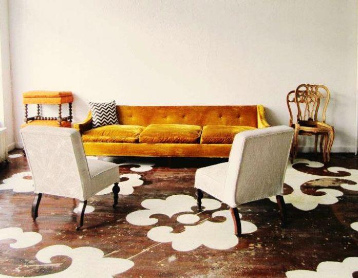 Chairloom, dramatic floor stencils, white paint on wood, yellow velvet sofa, Remodelista