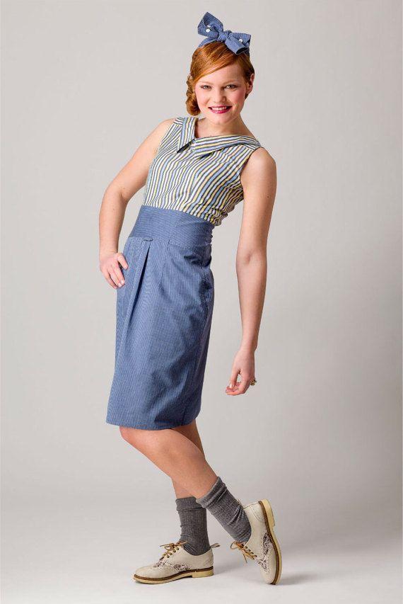 Reconstructed dress of mensshirts size 36 van StudioHenke op Etsy