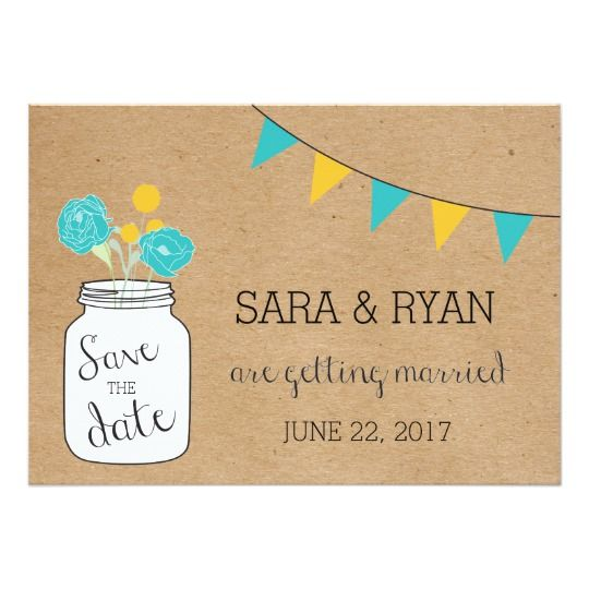 Mason Jar Wedding Save the Date, Rustic Style Card. Click through to find matching games, favors, thank you cards, inserts, decor, and more.  Or shop our 1000+ designs for all of life's journeys. Weddings, birthdays, new babies, anniversaries, and more. Only at Aesthetic Journeys