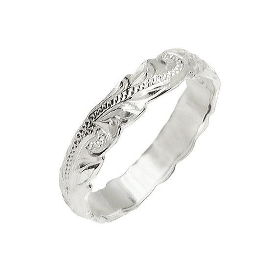 Sterling Silver Hawaiian Floral Scroll 4mm Ring – Sparkle & Jade
