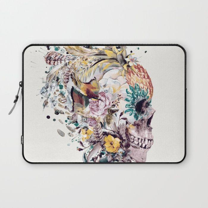 Moneto Mori VII Laptop Sleeve #skull #flowers #birds #collage #abstract #colors #digitalart