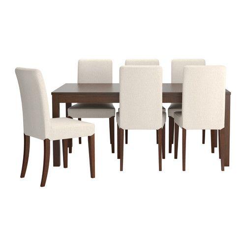 BJURSTA/HENRIKSDAL Mesa e 6 cadeiras, castanho, Linneryd cru Linneryd cru castanho 175 cm