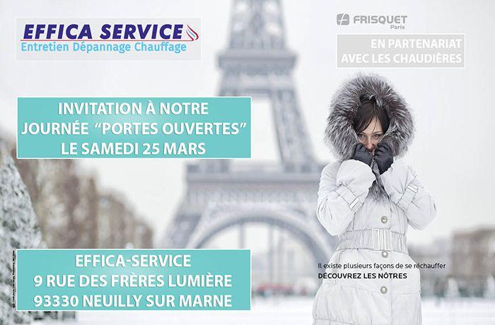 Invitation aux portes ouvertes de l'agence Effica-service, en partenariat avec Frisquet