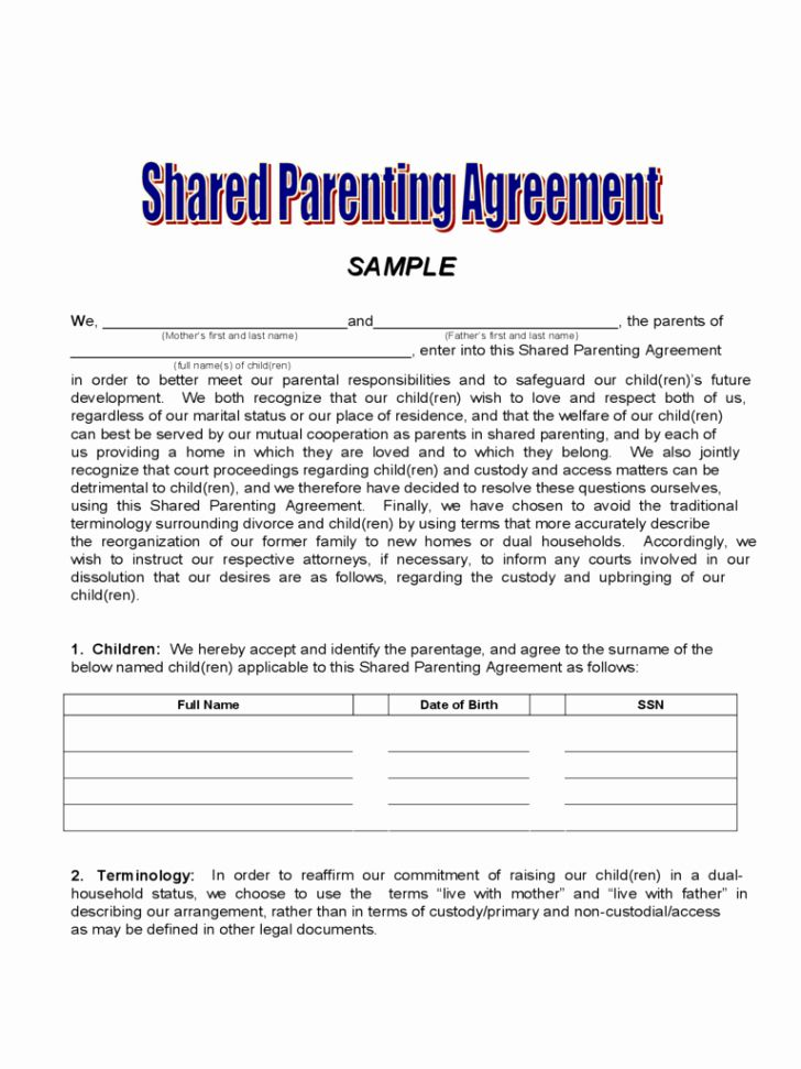 Sample Joint Custody Agreements Awesome Agreement Joint Custody Agreement Form Custody Agreement Joint Custody Child Custody