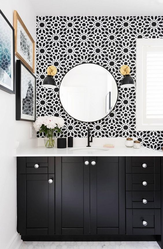 black and white bathroom with vase of flowers small gallery wall rh pinterest com