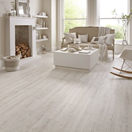 "To achieve a ""lived in"" modern traditional or modern country feel, go for our distressed White Painted Oak planks. The chalky white painted wood stripped down to reveal beige undertones looks highly realistic - without the practical limitations of real painted hardwood."