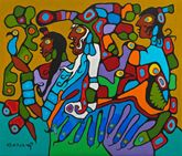 Norval Morrisseau (1931-2007)  Shaman and Disciples, 1979   acrylic on canvas  180.5 x 211.5 cm  Purchase 1979  McMichael Canadian Art Collection  1979.34.7