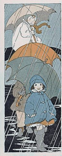 """""""The Rain Song"""" from """"The Music Hour, First Book"""", illustrated by Shirley Kite (1927)"""